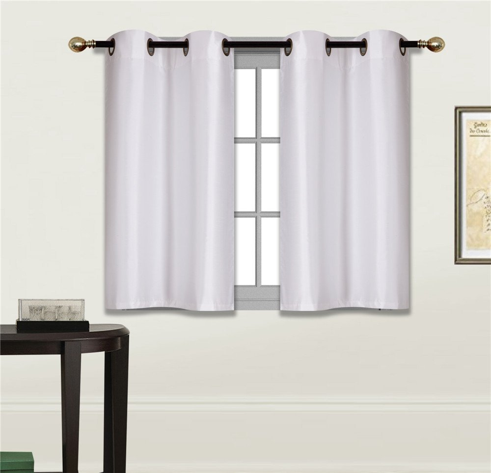 "Elegant Home 2 Panels Tiers Grommets Small Window Treatment Curtain Faux Silk Insulated Blackout Drape Short Panel 30"" W X 36"" L Each for Kitchen Bathroom or Any Small Window # D24 (White)"