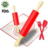 Rolling Pin, Large and Small Non-Stick Silicone Dough Rollers with Kneading Pastry Measurement Mat, Spatula and Pastry Brushes for Making Dough, Pizza, Pie, Pastries, Pasta and Cookies