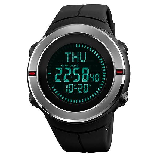Brújula Relojes de muñeca reloj cuenta atrás mundo tiempo Alarma Reloj Digital 5 ATM impermeable deportes al aire libre hombres relojes: Amazon.es: Relojes