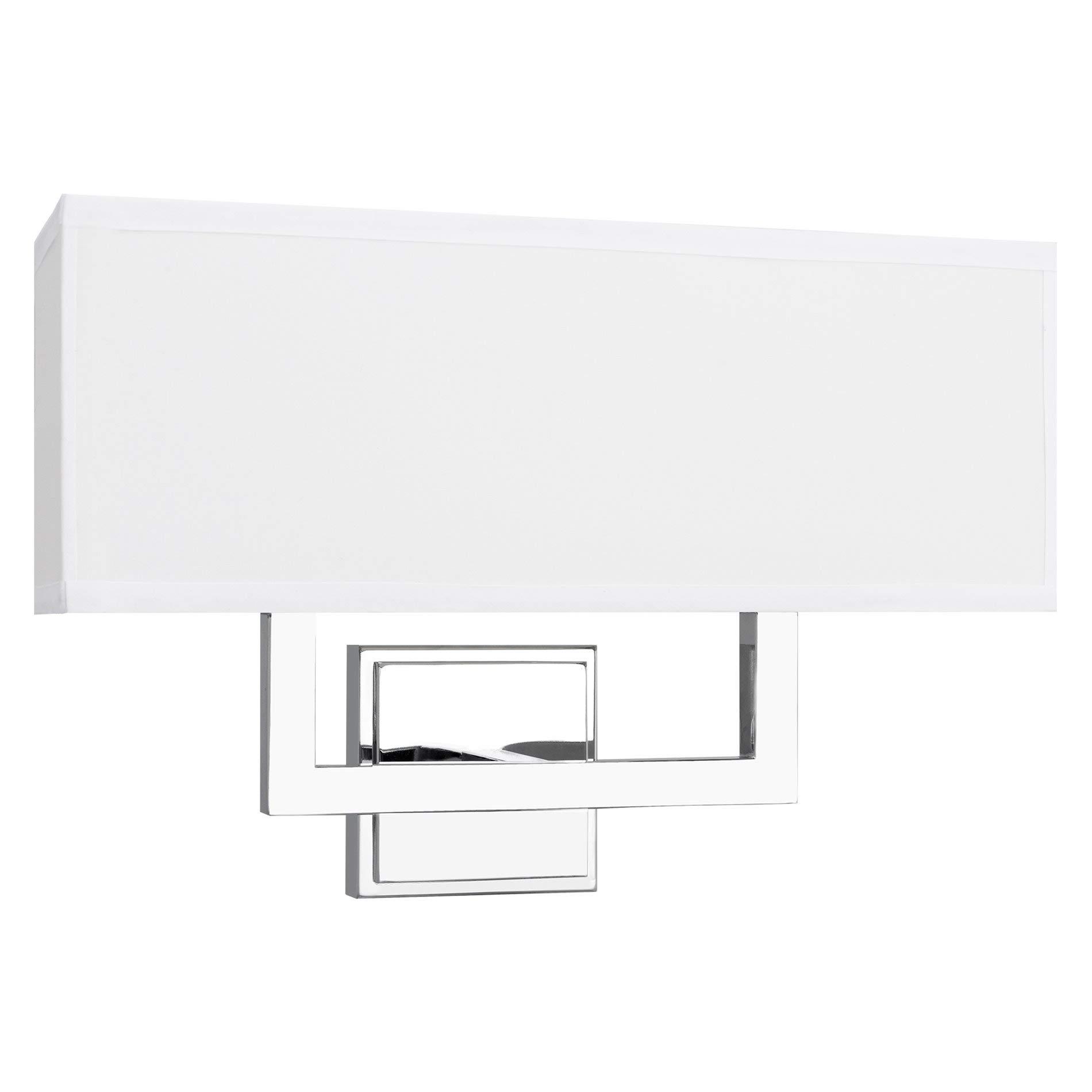 Kira Home Haven 16'' Modern 2-Light Wall Sconce/Wall Light + Rectangular White Fabric Shade, Chrome Finish