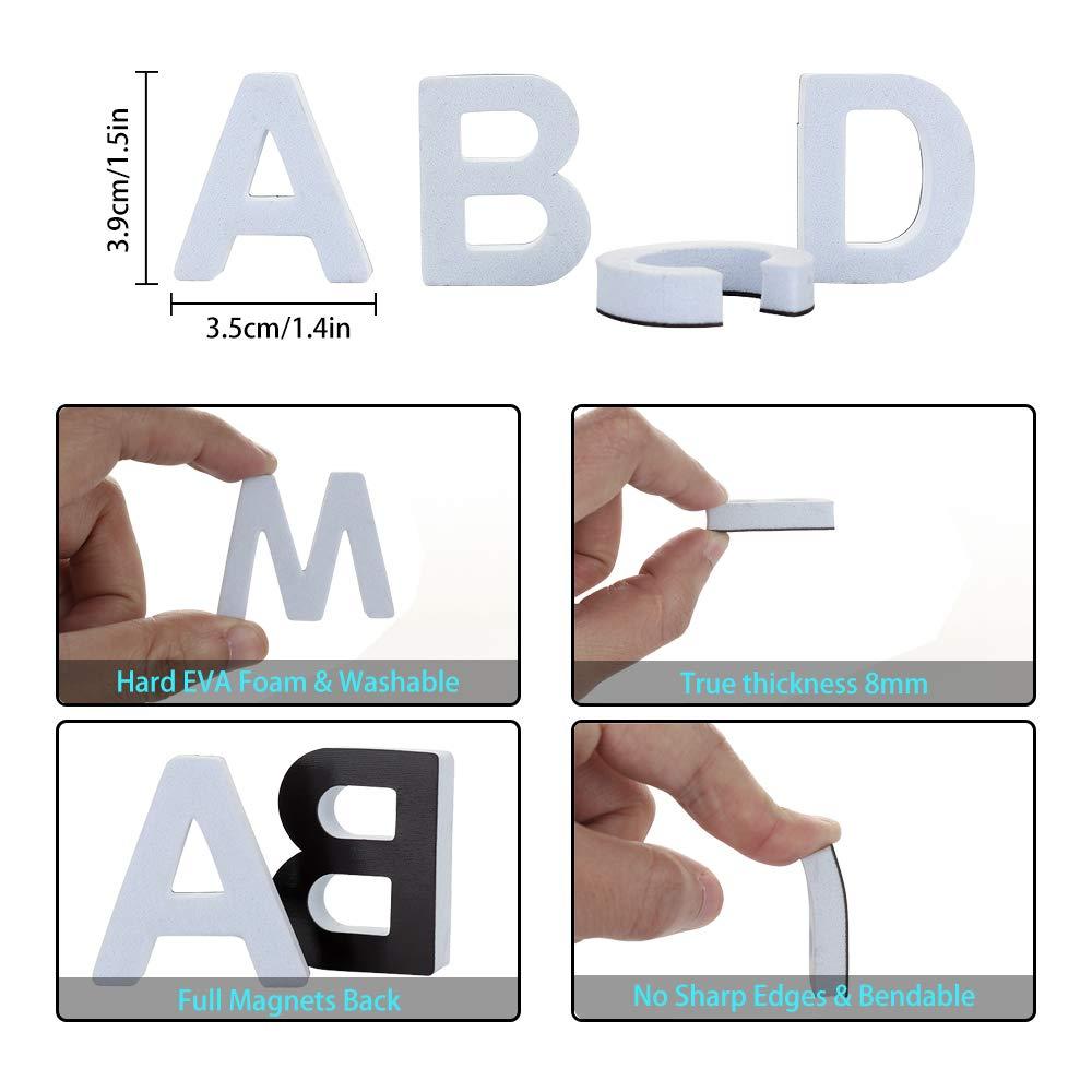 White JYCRA Magnetic Letters,124Pcs Foam Alphabet Refrigerator Magnets Best Educational Toy for Preschool Learning,Spelling