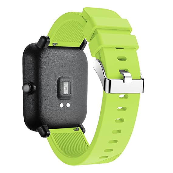 Silicone Strap Sports Band for Xiaomi Huami Amazfit Bip BIT PACE Lite Youth Smart Watch Band Replacement Bracelet Wrist Band Watch Strap (Lime)