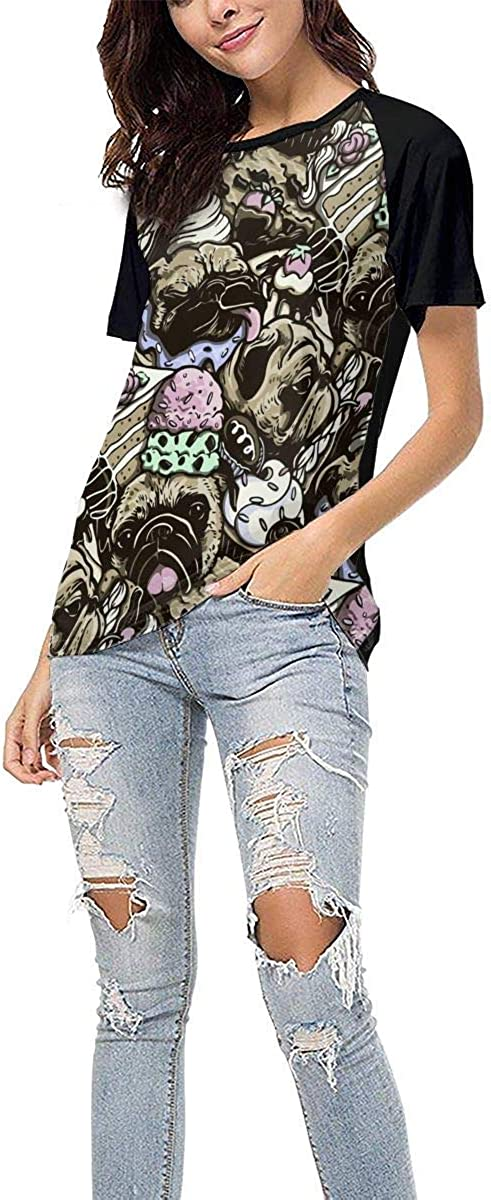 Womens Jersey Shirt Baseball Tee Pug with Desserts Casual Crew Neck Short Sleeve Raglan T-Shirts Tops Blouse