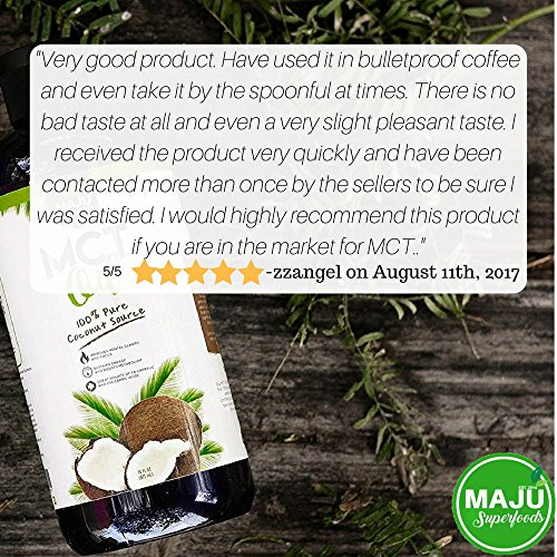 MAJU's MCT Oil Premium C8 & C10 Fatty Acids, ZERO Aftertaste, 100% Coconut, Coffee Friendly, Non GMO