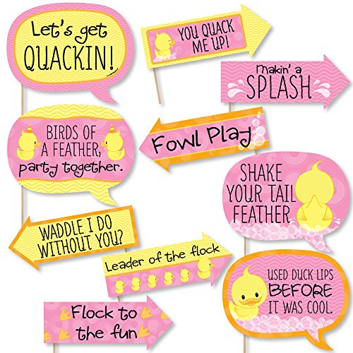 Funny Pink Ducky Duck - Baby Shower or Birthday Party Photo Booth Props Kit - 10 Piece ()