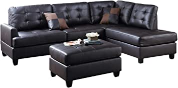 Amazon Com Poundex Bobkona Matthew Faux Leather Left Or Right Hand Chaise Sectional Set With Ottoman In Espresso Furniture Decor