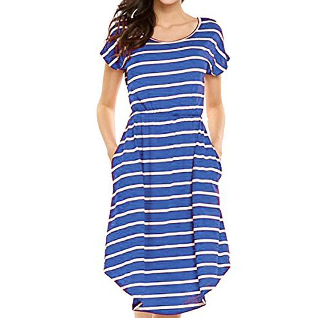 gaddrt Women's Sommerkleider Damen Kurzarm Streifen Casual Kurzarm-Kleid, Elastisches Taillen-gestreiftes Kleid mit Taschen