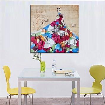 Moderne Kunst Malerei Handgemalte Ölgemälde Frau Im Kleid Auf Leinwand Home  Küche Wand Kunst Hintergrund Dekoration