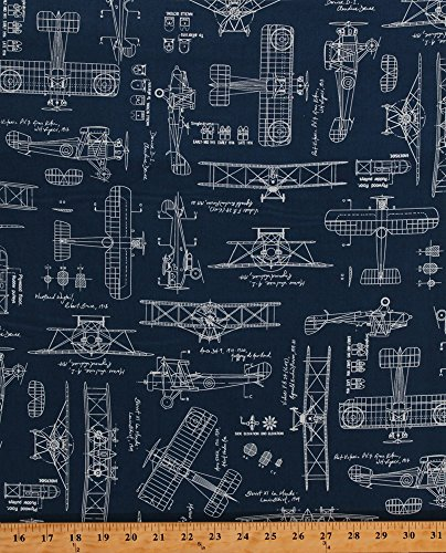 Cotton Vintage Airplane Airplanes Planes Blueprints Biplanes Diagrams Plans Flying Aviation Aviators Transportation Blue Cotton Fabric Print by The Yard (ACV-15675-62-INDIGO)