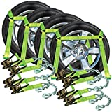 VULCAN Hi-Viz Side Rail Auto Tie Down w/Chain Anchors - 3300 lbs. SWL, 4 Pack