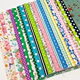 50pcs 7.5x10 inch (19x25.5cm) RANDOM Pattern Cotton Craft Fabric Bundle Pre Cut Squares Patch work DIY Sewing Quilting for DIY Handmade Craft Sewing RAMDOM Styles Including Colorful Floral, Polka Dots, Stripes,Cartoon Animals