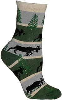 product image for Moose Stripes Hunter GreyNovelty Adult Socks by Wheel House Designs USA Made SKU PH 1541