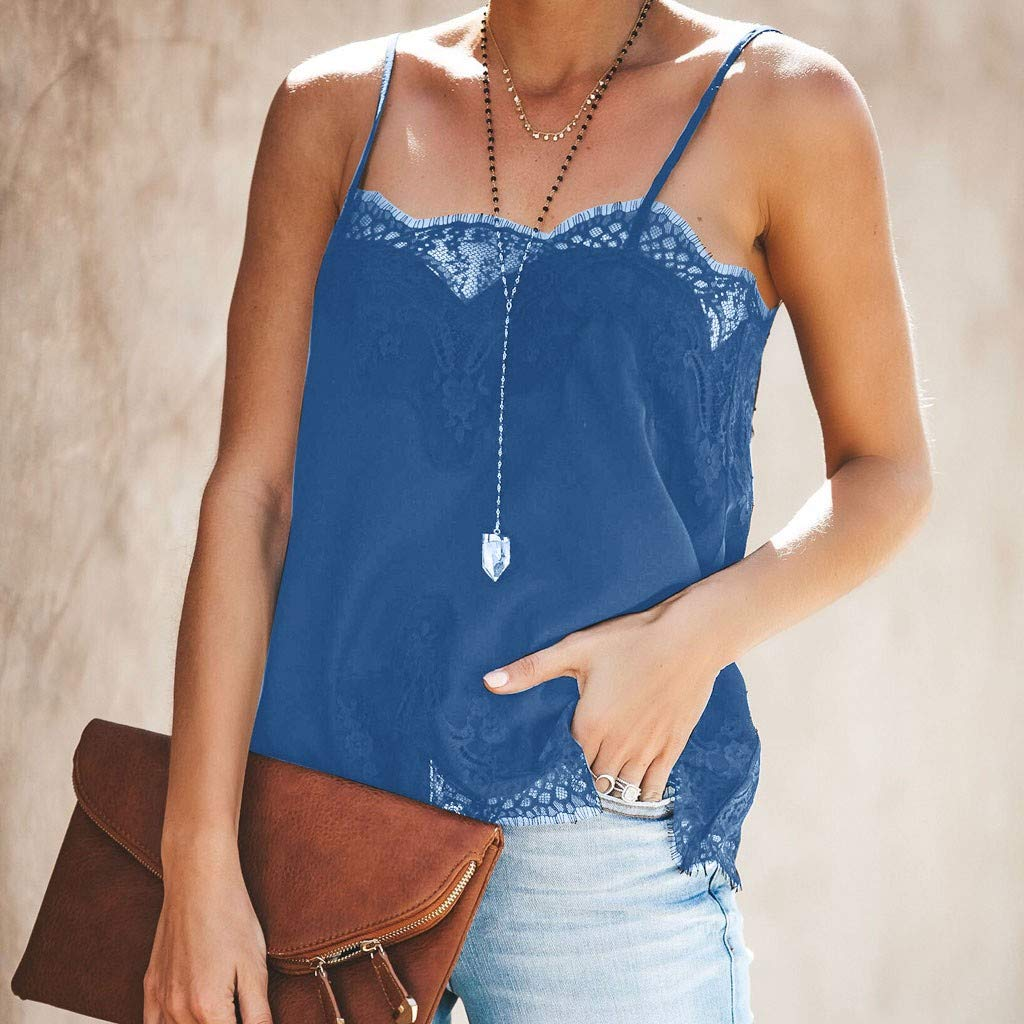 Tronet Summer Casual Fashion Women Strappy Vest Top Sleeveless Lace Patchwork Blouse Casual Tank