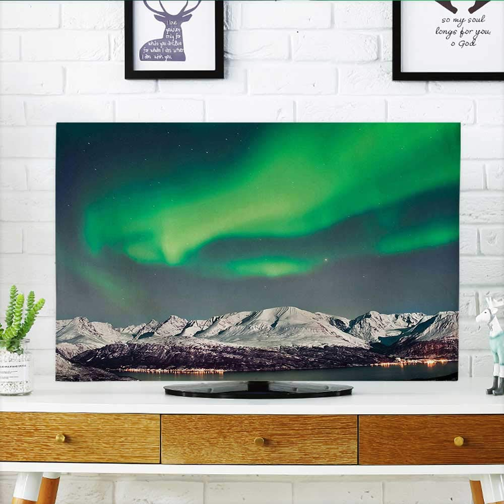 Leighhome TV dust Cover Aurora Above Fjords Magical Nordic Sky Arctic Solar TV dust Cover W32 x H51 INCH/TV 55'' by Leighhome