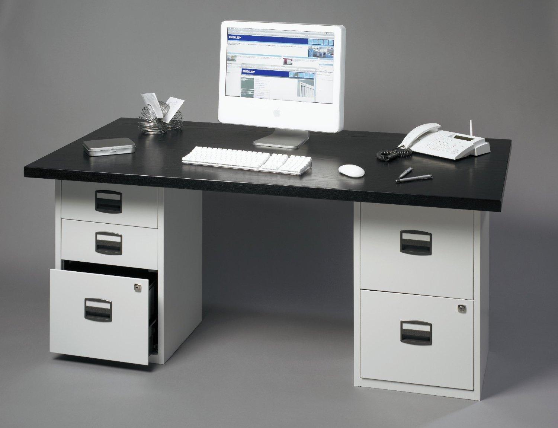 B-UK Home Office H/ängeregistraturschrank mit 2 Schubladen einbahnig PFA abschlie/ßbar in Wei/ß