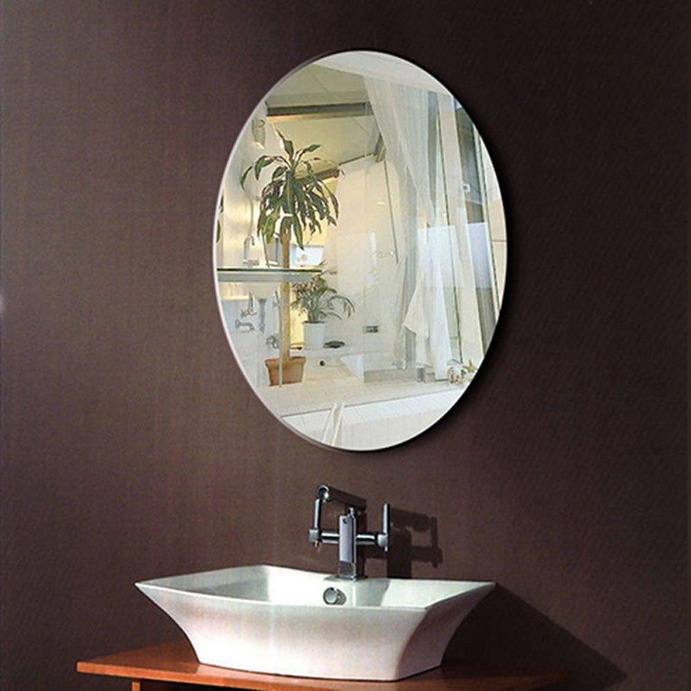 DECORAPORT 24 Inch 32 Inch Frameless Wall-mounted Bathroom Silvered Mirror Oval Vertical Horizontal Vanity Mirror (A-B094)