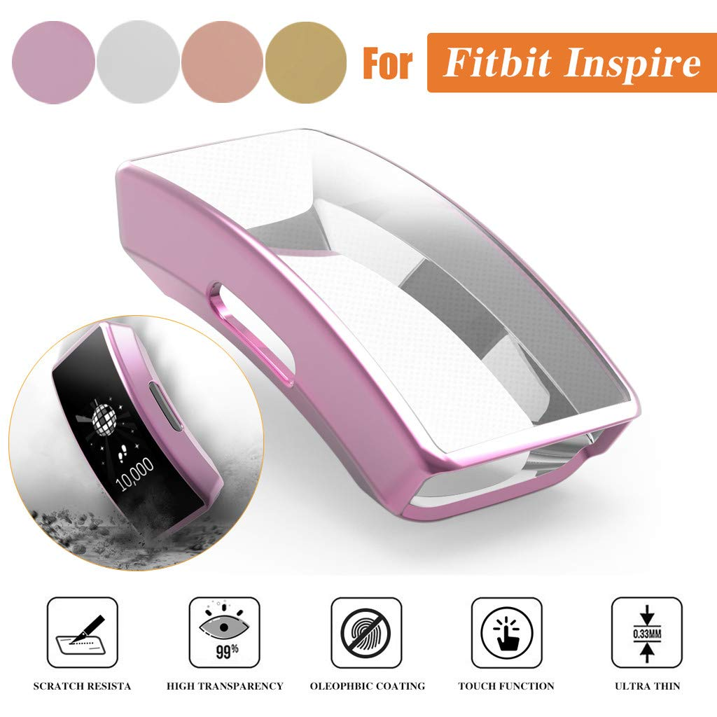 Pink Kecar for Fitbit Inspire Ultra-Thin Plating Soft TPU Protection Case Cover Cover Case Shell Screen Protector