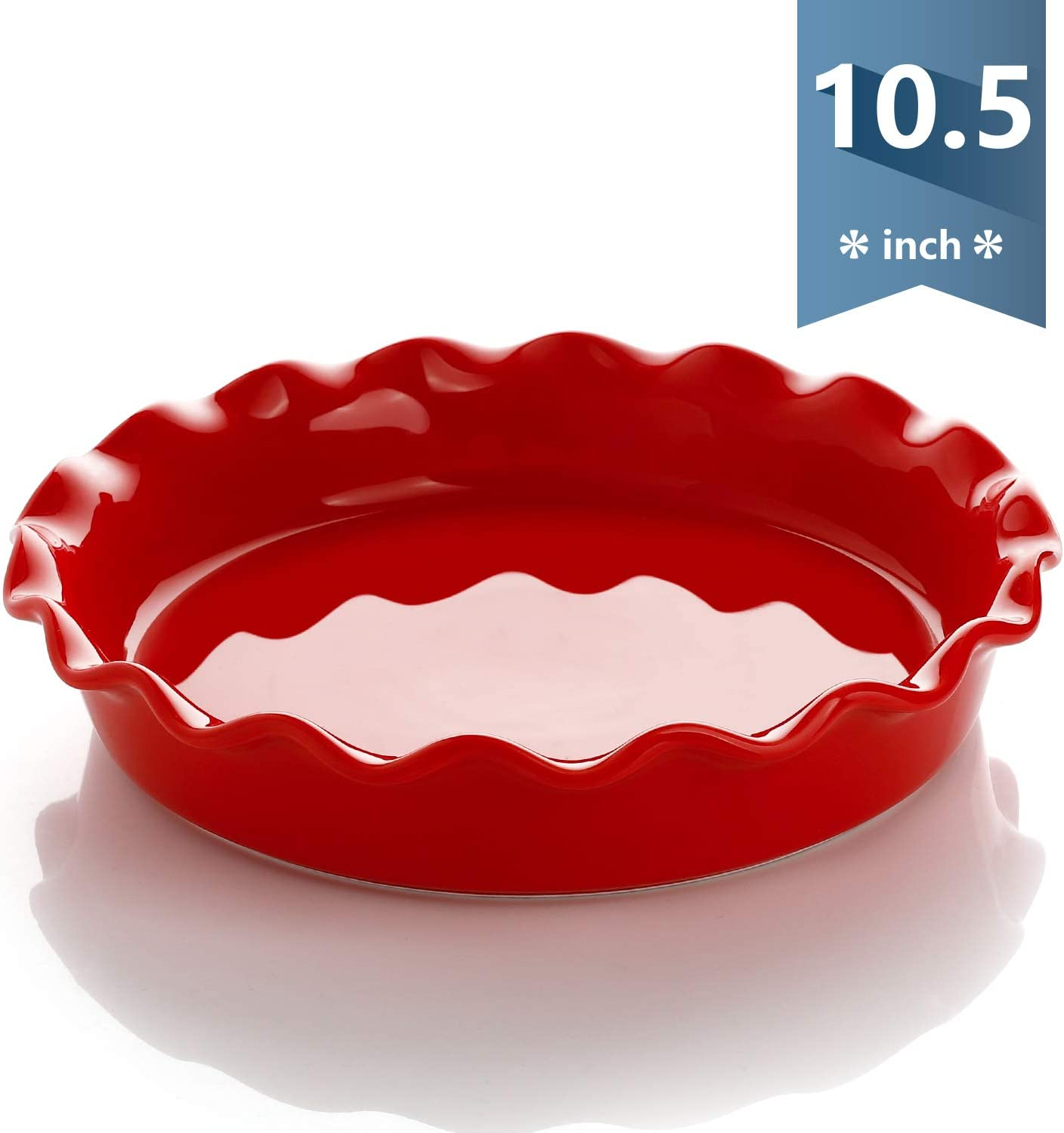 Sweese 518.104 Porcelain Pie Pan, Round Pie Plate Baking Dish with Ruffled Edge, 10.5 Inches, Red