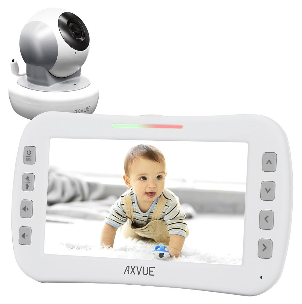 Video Baby Monitor with Remote-Controlled Camera and Wide Screen by Axvue, Grey, Model E650 by Axvue