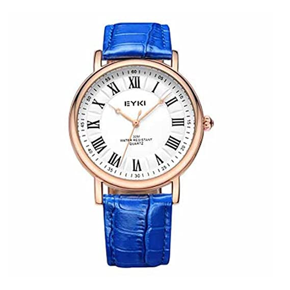 Eyki hombre reloj correa de cuero delgado caso romano Escala Retro color: azul