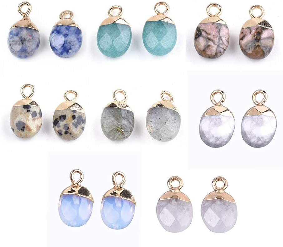 Fashewelry 10Pcs Crescent Moon Agate Stone Pendants Healing Crystal Chakra Gemstone Double Horn Charms 12x16mm for Necklace Jewelry Making Hole 1.5mm