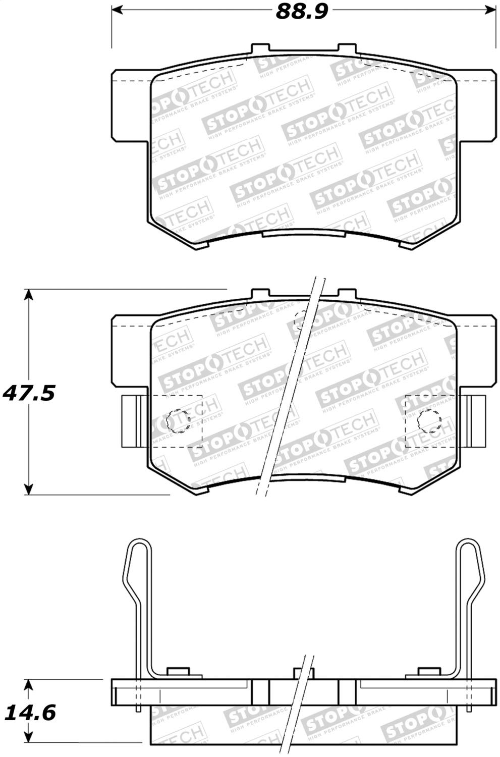 StopTech 308.05371 Street Brake Pads; Rear with Shims and Hardware