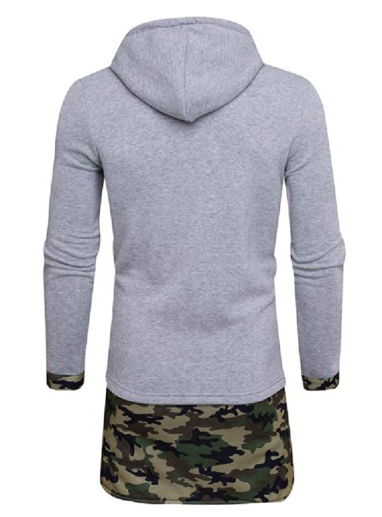 Tralounry Mens Long Style Jackets Autumn Camouflage Patched Hoodies Sweater Pullover
