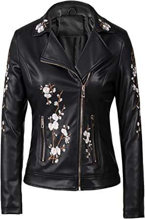 Bellivera Women's Faux Leather Casual Short Jacket,Moto Floral Coat with 2 Pocket, for Winter and Autumn