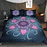Sleepwish Octopus Bedding Green Octopus Tentacles with Lotus 3 Piece Zen and Hipster Duvet Cover Cool Marine Animal Bedspread (King)