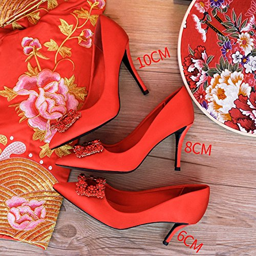 Red wedding Shoes Girl Pumps Crystal Heels HUAIHAIZ Court Shoes Sandals Chinese High Heels Red High 6CM Yw446Rxpq