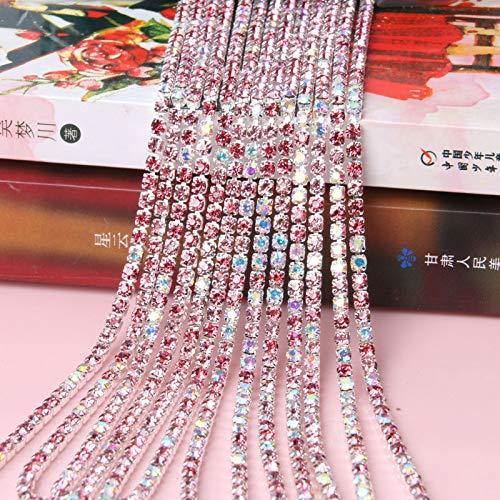 Black Shoppy Star Pulaqi Fine Mixed Color AB Rhinestone Claw Chain Silver Encryption Claw Diamond Chain Diy Silver Base Apparel Rhinestone Chain D SS8