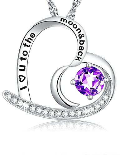 145553abfa2 Gifts for Her Birthday Mothers Day fine Jewelry Natural Gemstone Amethyst  Blue Topaz Necklace Sterling Silver Pendant Mothers Day Birthday Gift for  ...