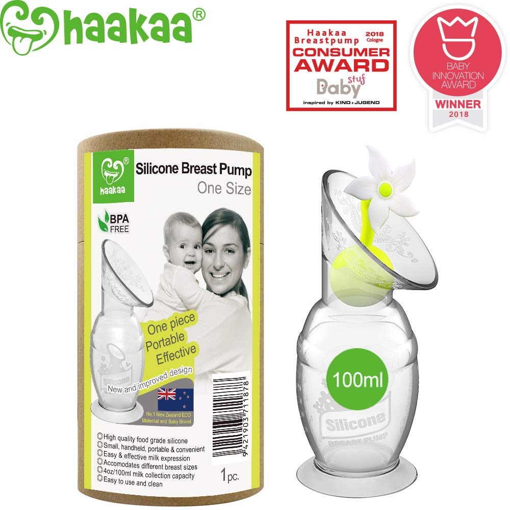 Haakaa Manual Breast Pumps Silicone Breastpump Milk Saver Milk Pump with Suction Base and Flower Stopper 100% Food Grade Silicone BPA Free (4oz/100ml) (White) by haakaa