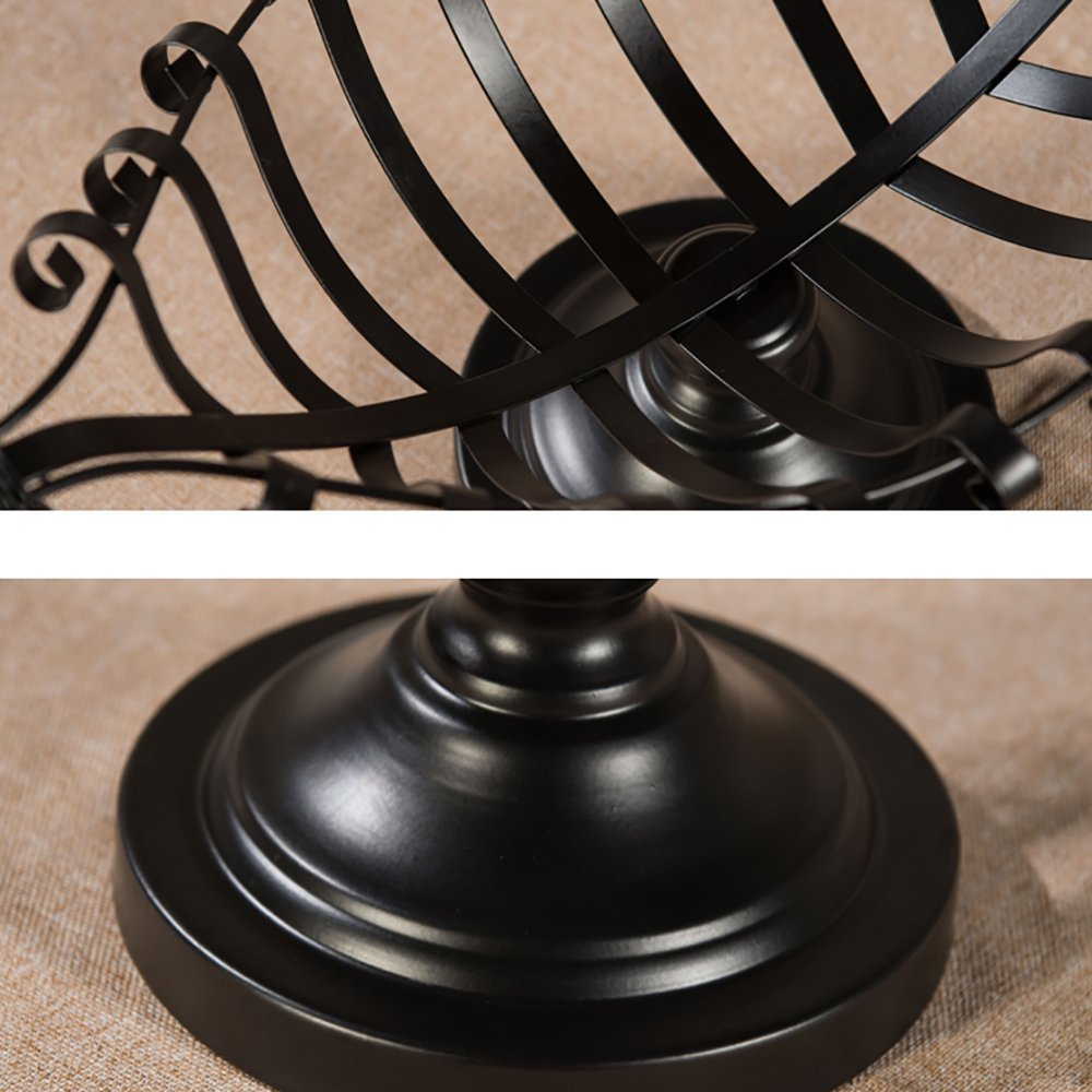 Comport Kitchen Fruit Basket Living Room Dim Sum Tray Wrought Iron Black (502618cm) by JANSUDY (Image #3)