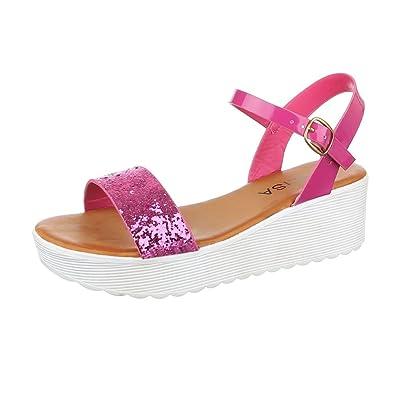 Ital-Design Komfortsandalen Damen Schuhe Römersandalen Keilabsatz/Wedge  Keilabsatz Schnalle Sandalen/Sandaletten Pink