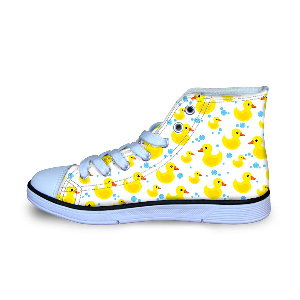 Canvas High Top Sneaker Casual Skate Shoe Boys Girls Rubber Duck Water Drops Bubbles