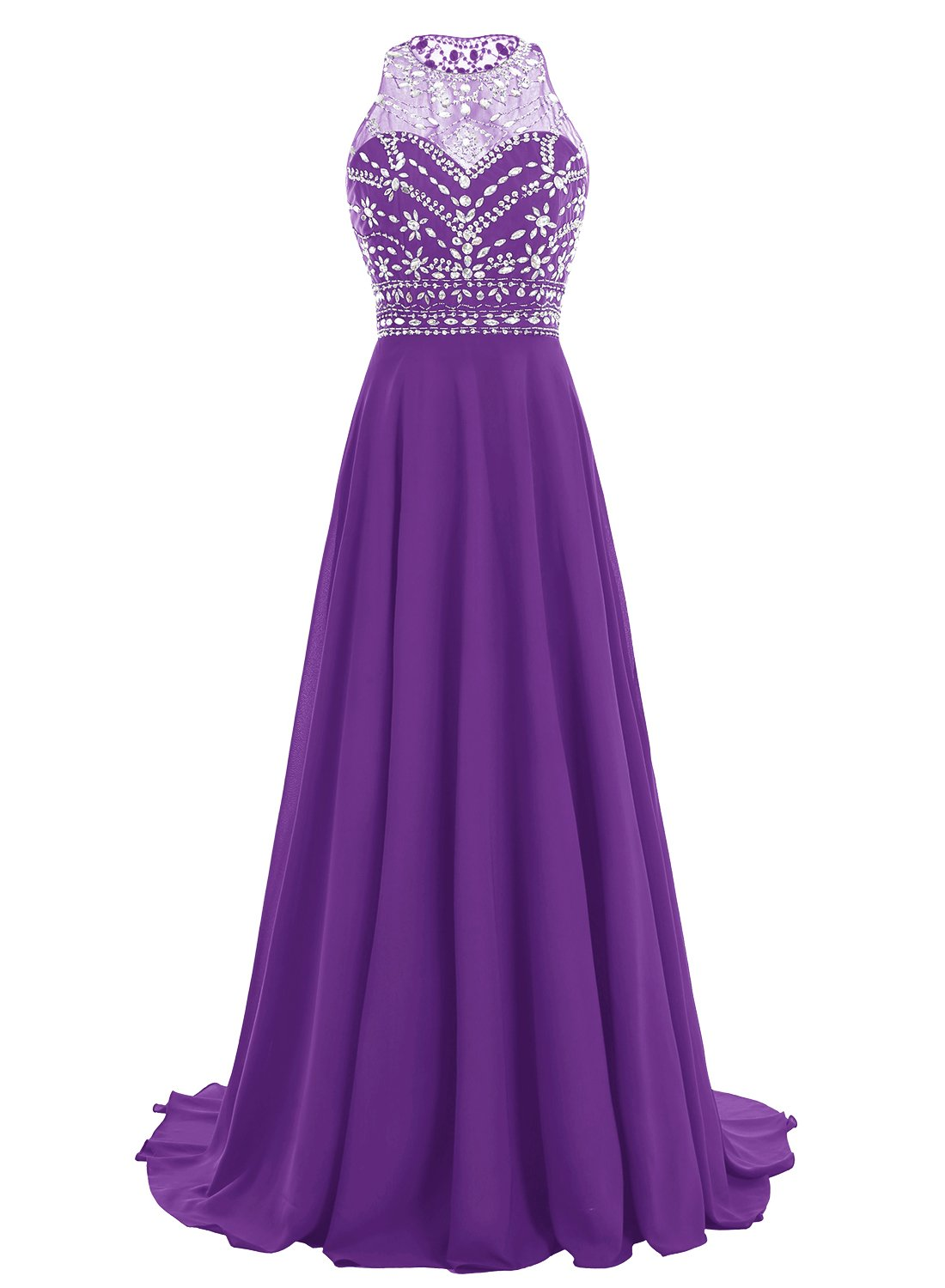 bbonlinedress Women Long Chiffon Beadings Scoop Prom Party Dresses Evening Gown Purple 16 by Bbonlinedress