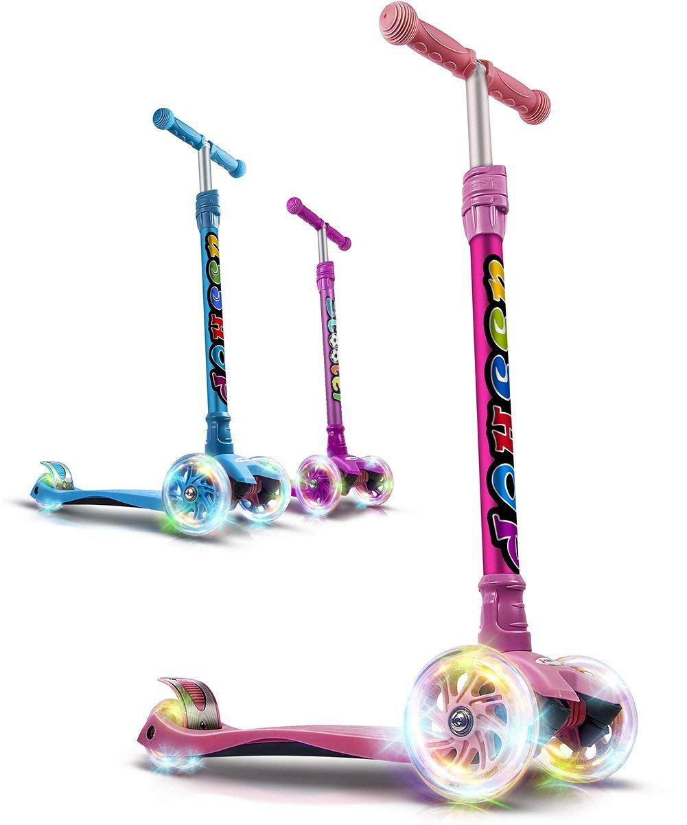 GOOGO Kick Scooter for Kids 3 Wheel Lean to Turn 3 Adjustable Height PU Wheels for 3-13 Year Old Pink