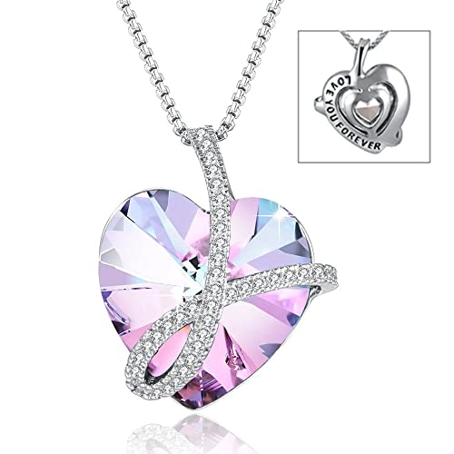 e0e65a341f2a Heart Necklace Love You Forever Engraved Heart Pendant Necklace with Swarovski  Crystal Purple Heart Crystal Pendant