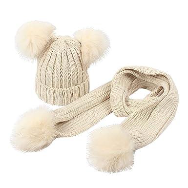 Boomly Enfant Bonnet Tricot + Echarpe avec Pom Pom Chapeau d hiver Chaud  Couleur Unie Beanie Bonnet Neck Warmer pour bébé DE 2-6 Ans (Beige, ... 739d74879e6