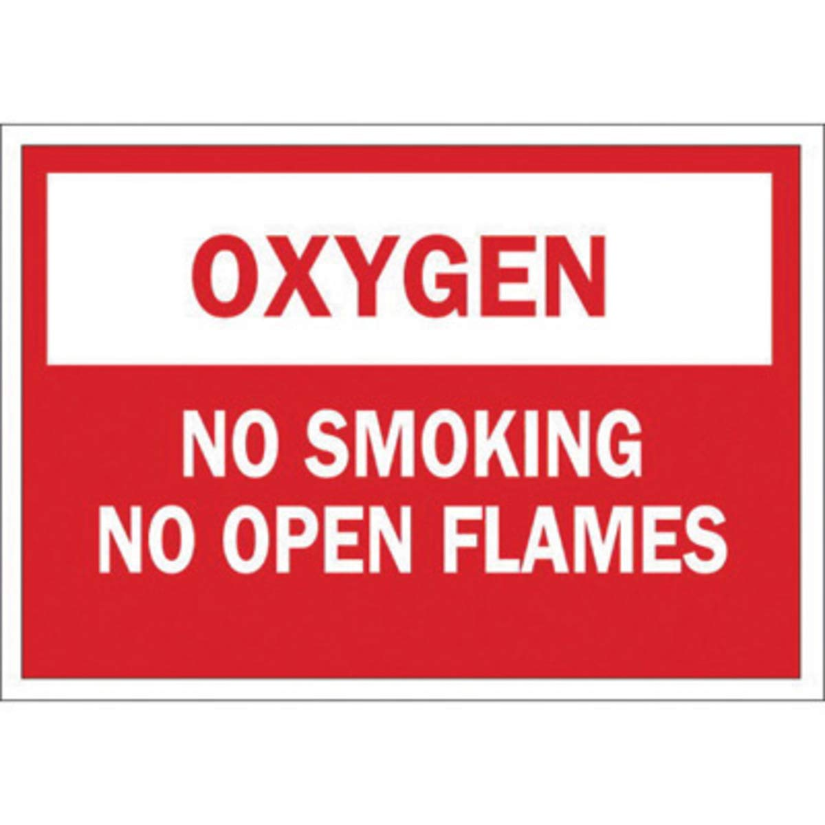 Brady 10'' X 14'' X 1/10'' Red On White .0984'' B-120 Fiberglass Chemicals And Hazardous Materials Sign''OXYGEN NO SMOKING NO OPEN FLAMES''