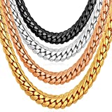 U7 Rose Gold Plated Chain Unisex Fashion Jewelry 6 MM Wide Snake Chain Necklace - 26 Inch