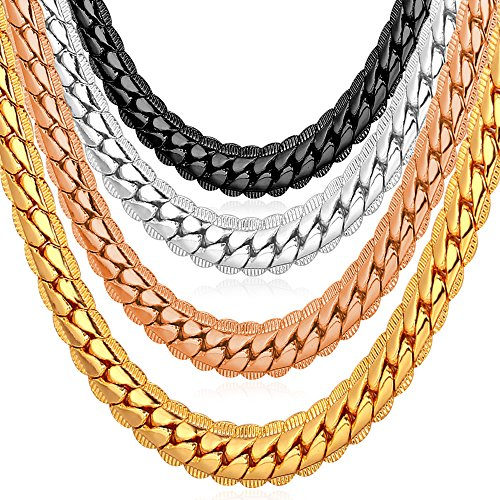 U7 Rose Gold Plated Snake Curb Chain Chain with 18KGP Stamp 6MM Thick Necklace for Men and Women 24 Inch