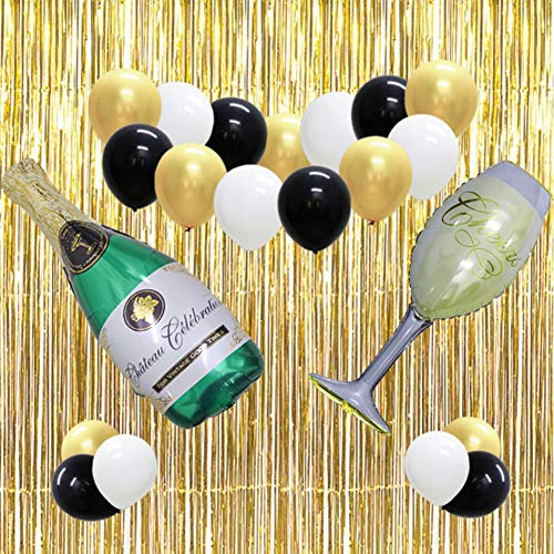 40inch Gold 2019 Party Balloons, Champagne Bottle Goblet Balloons Decoration, 12inch Latex Balloons, Foil Fringe Backdrop Curtain for Graduation Anniversary Wedding Ceremony New Years Eve -