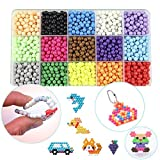 Aqua Beads Refill, 15 Colors Water Spray Beads Set Sticky Perler Beados Art Crafts Toys for Kids About 2400 Classic and Jewel Beads (2400 Beads Refill)