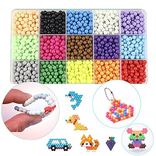 Aqua Beads Refill, 15 Colors Water Spray Beads Set Sticky Perler Beados Art Crafts Toys for Kids About 2400 Classic and Jewel Beads (2400 Beads Refill) by asdfg
