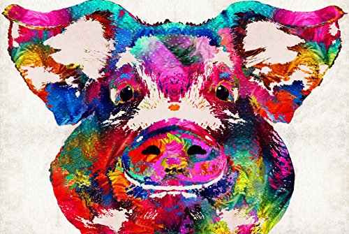 Pig Print (colorful pig art squeal appeal print Modern Canvas Wall Art for Home and Office Decoration ,24X36 Inch, Giclee Artwork for Wall Decor thoughtful art-print)