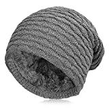 Vbiger Men Warm Knitted Hat Winter Slouchy Beanie Skull Slouch Cap for Men