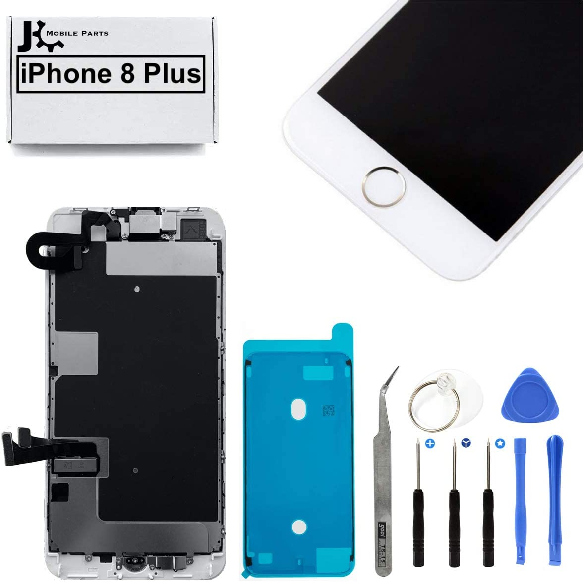 Full Screen Replacement LCD 3D Touch Assembly Front Camera Ear Speaker Home Button with Frame Adhesive and Repair Tools for iPhone 8 Plus 5.5 inch (Gold)