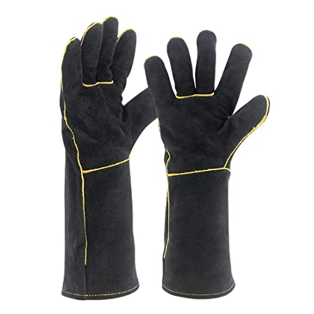 Jupiter Industries Heat Resistant Split Leather Gloves BBQ/Camping/Cooking Glove/Baking/Grill/Fireplace/Stove/Pot Holder/Workplace
